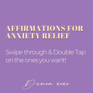 Swipe through ➡️ and take the Affirmations that work best for you!   Dealing with anxiety is not easy. I being a healer, I have had my moment lately.  The only thing (besides chocolate!) that helps calm me down is breathing and Affirmations.  So I decided to put together a few Affirmations that might help you.   Comment below with your favourite One! (Can be more than 1) 👇 . . . . . . . .  #thelightwithin #devina #affirmationsforanxiety #anxietyrelief #anxietysupport #anxietyaffirmations  #affirmationoftheday  #healingaffirmations #positivethinkingonly #positivityonly  #positiveaffirmations #affirmations #positivemindset #messagesofhope #higherself #dailyaffirmations #affirmationsdaily #positiveaffirmation  #selfempowerment #positiveintentions #dailymantra #messageoftheday #affirmationsoftheday  #affirmationoftheweek #universeaffirmations #lawofattraction #powerofthemind #positiveselftalk #healingaffirmations #todaysaffirmation