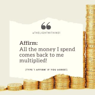 """Double Tap to Affirm! 🙌⠀ ⠀ Do you feel that money doesn't stay in your hands? Do you feel that money flows out more than it comes in? ⠀ ⠀ If you answered yes to any of the questions, and if you want to attract abundance, then this Affirmation is for you!⠀ ⠀ When we repeat a positive statement it helps activate the Law of Attraction. That puts energy into motion, and the more you believe it's coming to you, the faster it will manifest in your reality.⠀ ⠀ Affirm with me : """"All the money I spend comes back to me multiplied""""⠀ .⠀ .⠀ .⠀ .⠀ .⠀ .⠀ .⠀ .⠀ .⠀ .⠀ ⠀ ⠀ #thelightwithin #devina #affirmationoftheday #positivethinkingonly #positivityonly ⠀ #positiveaffirmations #affirmations⠀ #positivemindset #messagesofhope⠀ #higherself #dailyaffirmations⠀ #affirmationsdaily #positiveaffirmation ⠀ #selfempowerment #positiveintentions⠀ #dailymantra #messageoftheday⠀ #affirmationsoftheday #affirmationoftheweek #lawofattractiontips #universeaffirmations #lawofattraction #lawofvibration #healingquotes #moneyaffirmations #abundance #abundancemindset #manifestingabundance #lawofabundance #manifestation"""
