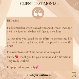 This client was able to manifest the love of her life! ❤️   Work with me through Affirmations and guided sessions to change your life and manifest your dreams!   Grateful for being able to connect with such wonderful souls! 🤗  (One on One sessions are currently unavailable) . . . . . . .  #thelightwithin #devina #clientdiaries #clientlove #clientspeak #testimonials #clienttestimonial #clienttestimonials #lovemywork❤️ #lovewhatyoudo #manifestingdreams #lifecoachingforwomen #manifestyourlife #affirmationswork #manifestationmagic