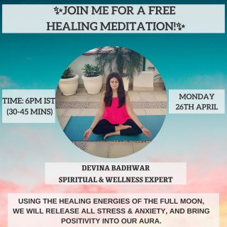 I'm hosting a FREE Meditation Webinar on Monday, the 26th of April at 6pm IST.  Click on the LINK IN BIO to register! Sign ups are on first come basis.  Anyone can join in. This is will help you release any stress and anxiety you have been holding onto.  It's important to cleanse our aura regularly, as it starts to not only affect our mental but also our physical health.   We will harness the energy of the Full Moon to help with the healing & release process 🌕  . . . . . .  #devina #meditation #freemeditation #healingjourney #fullmoonmeditation #fullmoonritual #healingvibrations #anxietyreliever #anxietysupport #meditationpractice