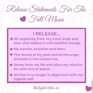 𝑾𝒉𝒂𝒕 𝒂𝒓𝒆 𝒚𝒐𝒖 𝒓𝒆𝒍𝒆𝒂𝒔𝒊𝒏𝒈 𝒕𝒉𝒊𝒔 𝑭𝒖𝒍𝒍 𝑴𝒐𝒐𝒏? 🌕  Hi love, I have shared some sample statements that you can use.   The Full Moon is a time to let go of what isn't working for us, any old attachments or habits, or anything you want to leave behind.  RITUAL ✨Light a candle 🕯  ✨Put on some soothing music 🎵  ✨Write down on a piece of paper everything you want to release 📝  ✨Breathe it out 💨 ✨Burn the paper 🔥  ✨Flush/bury the ashes. Feel it leaving your aura 🌘  ʀᴇꜰᴇʀ ᴛᴏ ᴍʏ ꜰᴜʟʟ ᴍᴏᴏɴ ʀᴇʟᴇᴀꜱᴇ ᴠɪᴅᴇᴏ ᴏɴ ᴍʏ ɪɢᴛᴠ 🎥   Comment below if you found this useful or if this worked for you! 👇 . . . . . . . #thelightwithin #devina #fullmoonritual #fullmoonrelease #fullmoonrituals #fullmoonenergy #fullmoon #fullmoonmeditation #fullmoonblessings #meditationpractice #meditationtips #letgoquotes #fullmoon🌕 #fullmoonceremony #healingjourney #healingisaprocess