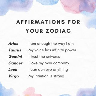 Swipe ➡️ to find your Affirmation for your Zodiac sign.   Which Zodiac sign are you? Comment below 👇 . . . . . . . .  #thelightwithin #devina #zodiacsigns #zodiacposts #zodiacfun #affirmations #affirmationsoftheday #affirmationsdaily #affirmationspositives #zodiacaffirmations #affirmationpositive