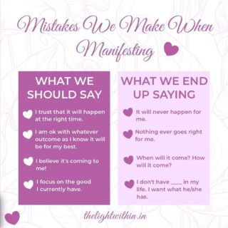 What are the mistakes we make when manifesting? 🙅♀️  This is a question I get a lot from people- why isn't something working out for me? I have been praying so hard for it!  The answer is- you're perhaps doing it all wrong!  Every word we say has a vibration. If the energy we send out is stressed and impatient, we are causing a block in our manifestation.  Change your statements today! Comment below if you found this useful 💖👇  . . . . . . #thelightwithin #devina #manifestationtips #manifestationcoach #manifestationmagic #manifest #manifestar #manifestwithme #universehasyourback